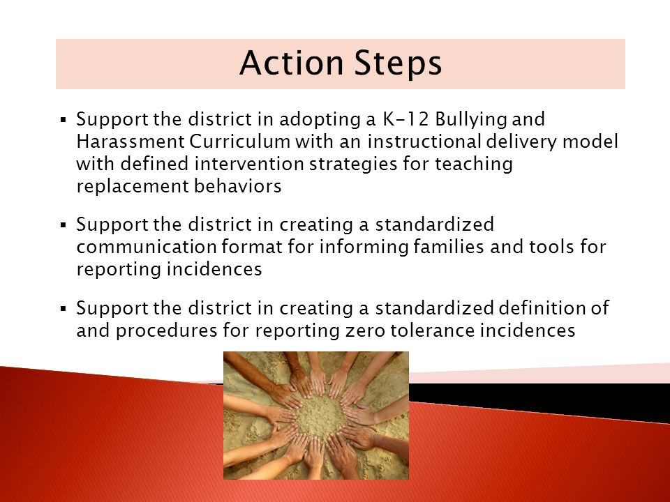 Support the district in adopting a K-12 Bullying and Harassment Curriculum with an instructional delivery model with defined intervention strategies for teaching replacement behaviors Support the district in creating a standardized communication format for informing families and tools for reporting incidences Support the district in creating a standardized definition of and procedures for reporting zero tolerance incidences