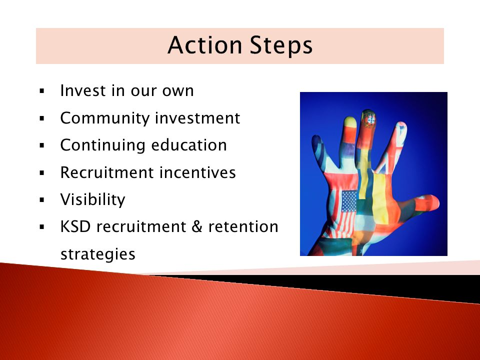 Invest in our own Community investment Continuing education Recruitment incentives Visibility KSD recruitment & retention strategies