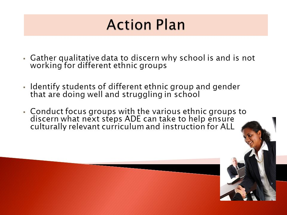 Gather qualitative data to discern why school is and is not working for different ethnic groups Identify students of different ethnic group and gender that are doing well and struggling in school Conduct focus groups with the various ethnic groups to discern what next steps ADE can take to help ensure culturally relevant curriculum and instruction for ALL