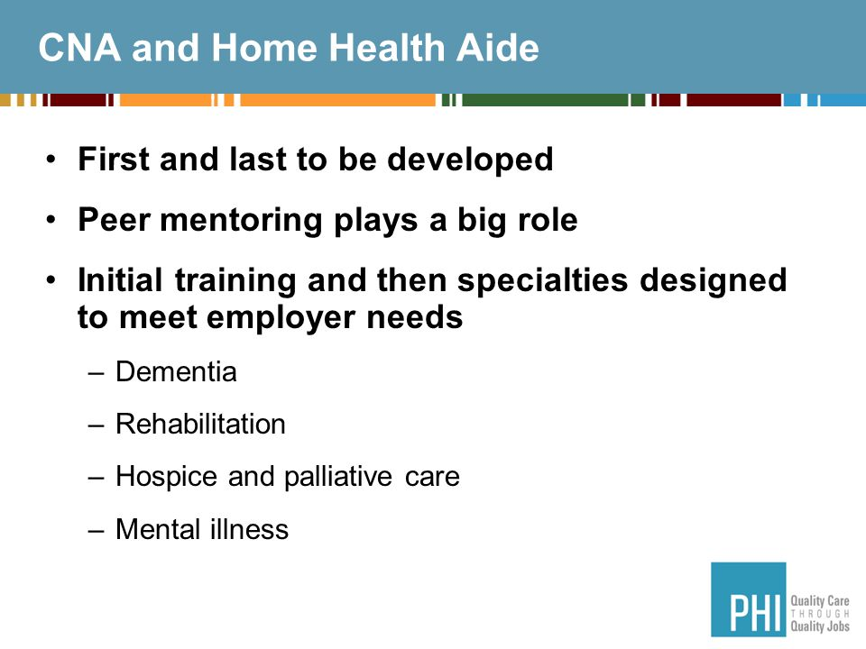CNA and Home Health Aide First and last to be developed Peer mentoring plays a big role Initial training and then specialties designed to meet employer needs –Dementia –Rehabilitation –Hospice and palliative care –Mental illness