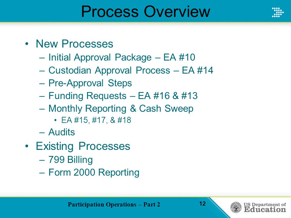 Participation Operations – Part 2 12 Process Overview New Processes –Initial Approval Package – EA #10 –Custodian Approval Process – EA #14 –Pre-Approval Steps –Funding Requests – EA #16 & #13 –Monthly Reporting & Cash Sweep EA #15, #17, & #18 –Audits Existing Processes –799 Billing –Form 2000 Reporting