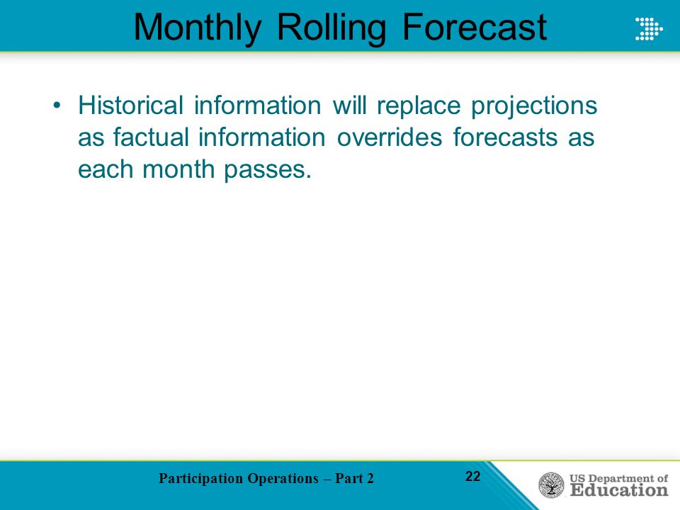 Participation Operations – Part 2 22 Monthly Rolling Forecast Historical information will replace projections as factual information overrides forecasts as each month passes.