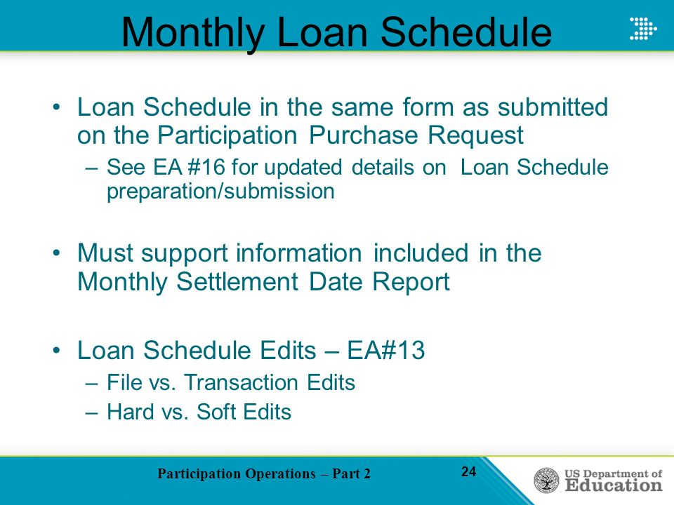 Participation Operations – Part 2 24 Monthly Loan Schedule Loan Schedule in the same form as submitted on the Participation Purchase Request –See EA #16 for updated details on Loan Schedule preparation/submission Must support information included in the Monthly Settlement Date Report Loan Schedule Edits – EA#13 –File vs.