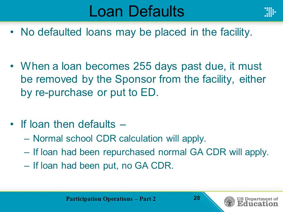 Participation Operations – Part 2 28 Loan Defaults No defaulted loans may be placed in the facility.