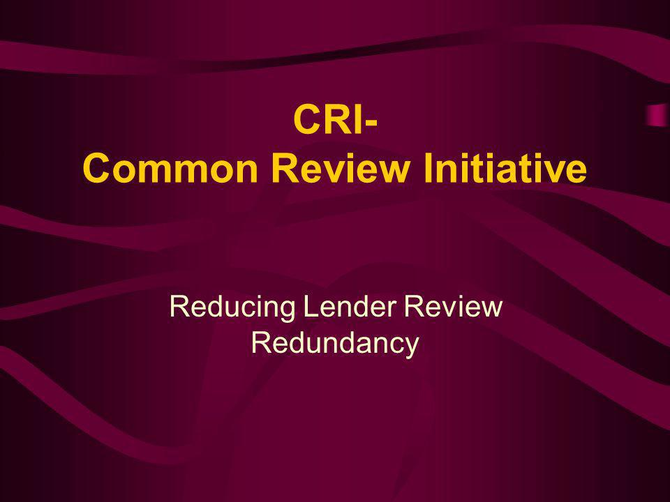 CRI- Common Review Initiative Reducing Lender Review Redundancy