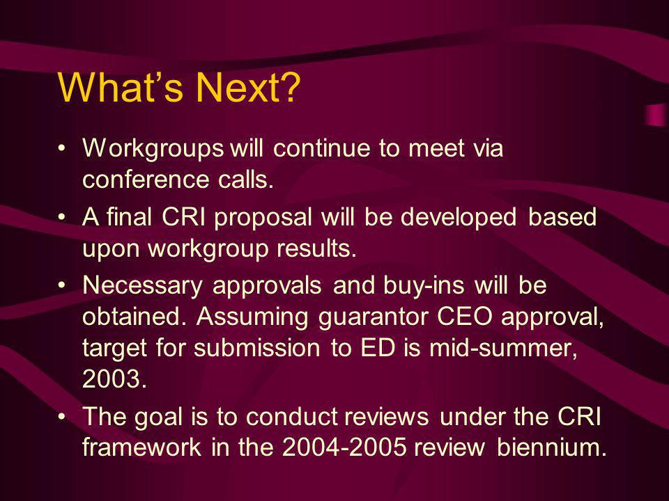 Whats Next. Workgroups will continue to meet via conference calls.