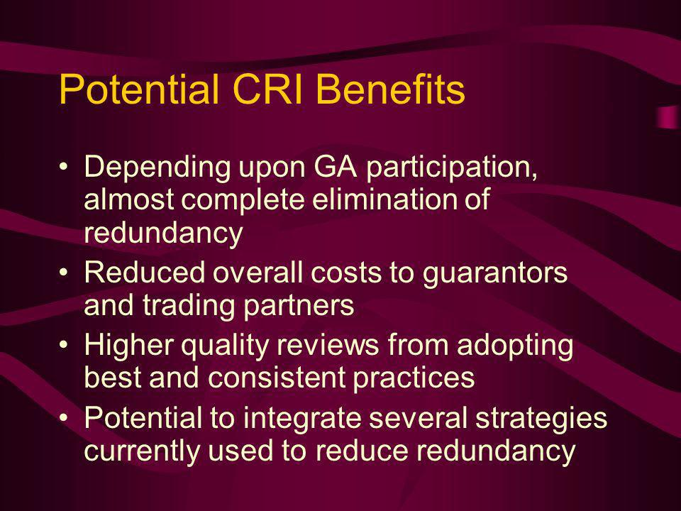 Potential CRI Benefits Depending upon GA participation, almost complete elimination of redundancy Reduced overall costs to guarantors and trading partners Higher quality reviews from adopting best and consistent practices Potential to integrate several strategies currently used to reduce redundancy