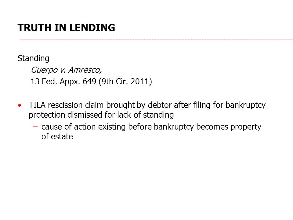 TRUTH IN LENDING Standing Guerpo v. Amresco, 13 Fed.