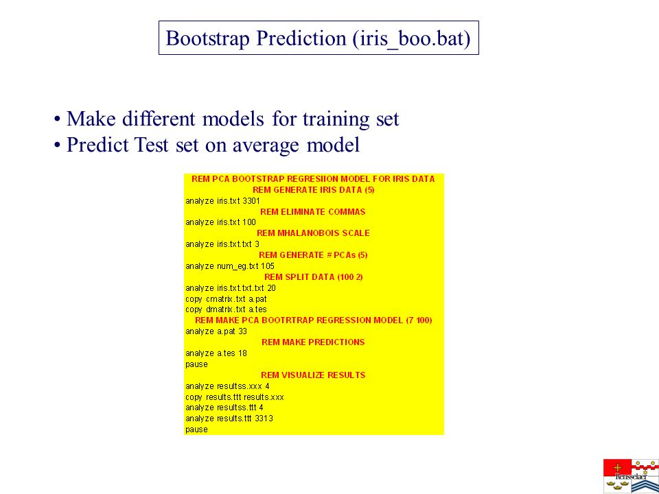 Bootstrap Prediction (iris_boo.bat) Make different models for training set Predict Test set on average model