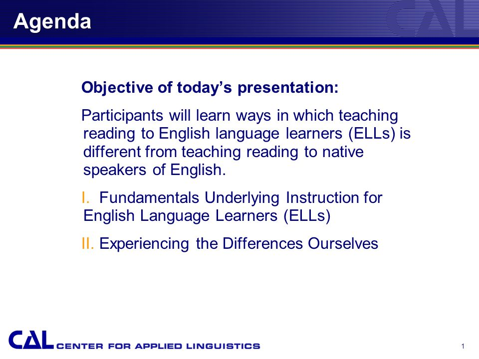 Whats Different About Teaching Reading to Students Learning English.