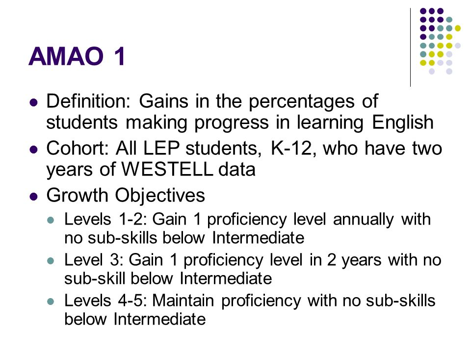 AMAO 1 Definition: Gains in the percentages of students making progress in learning English Cohort: All LEP students, K-12, who have two years of WESTELL data Growth Objectives Levels 1-2: Gain 1 proficiency level annually with no sub-skills below Intermediate Level 3: Gain 1 proficiency level in 2 years with no sub-skill below Intermediate Levels 4-5: Maintain proficiency with no sub-skills below Intermediate