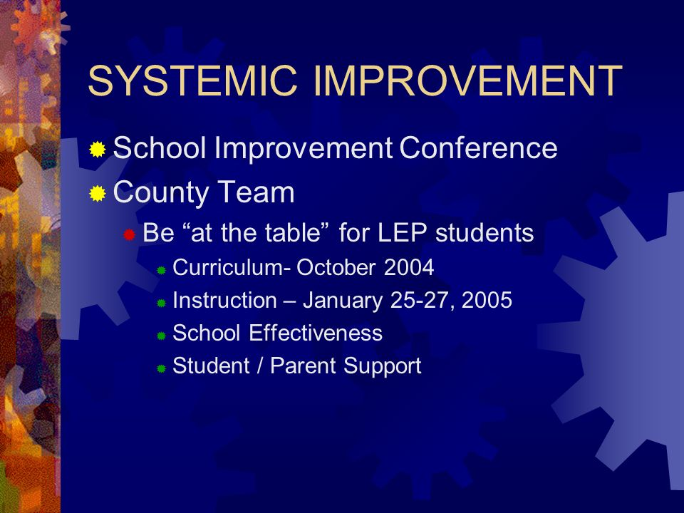 SYSTEMIC IMPROVEMENT School Improvement Conference County Team Be at the table for LEP students Curriculum- October 2004 Instruction – January 25-27, 2005 School Effectiveness Student / Parent Support