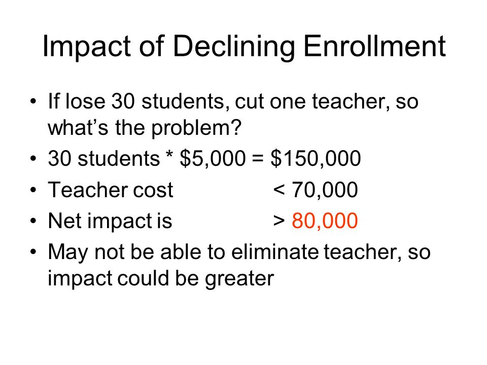 Impact of Declining Enrollment If lose 30 students, cut one teacher, so whats the problem.