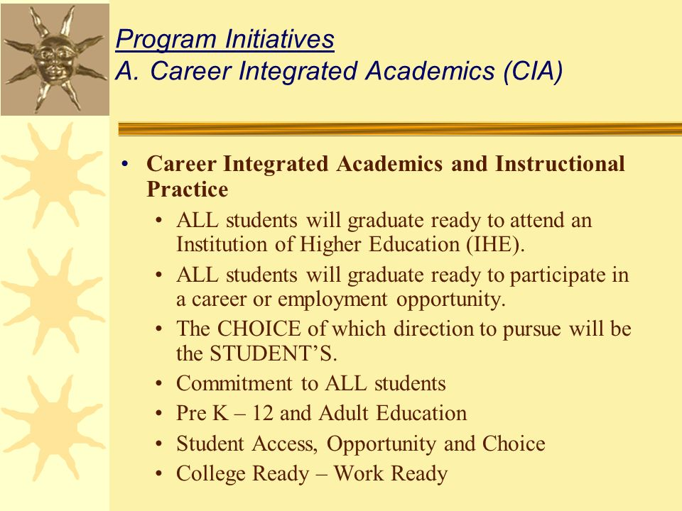 Program Initiatives A.Career Integrated Academics (CIA) Career Integrated Academics and Instructional Practice ALL students will graduate ready to attend an Institution of Higher Education (IHE).