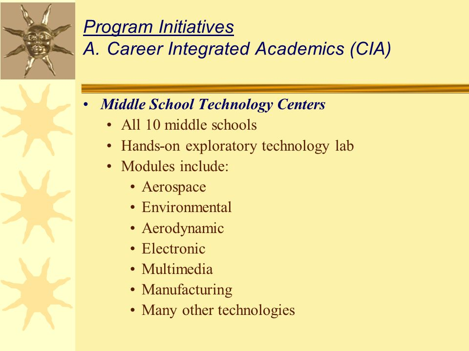 Middle School Technology Centers All 10 middle schools Hands-on exploratory technology lab Modules include: Aerospace Environmental Aerodynamic Electronic Multimedia Manufacturing Many other technologies Program Initiatives A.Career Integrated Academics (CIA)
