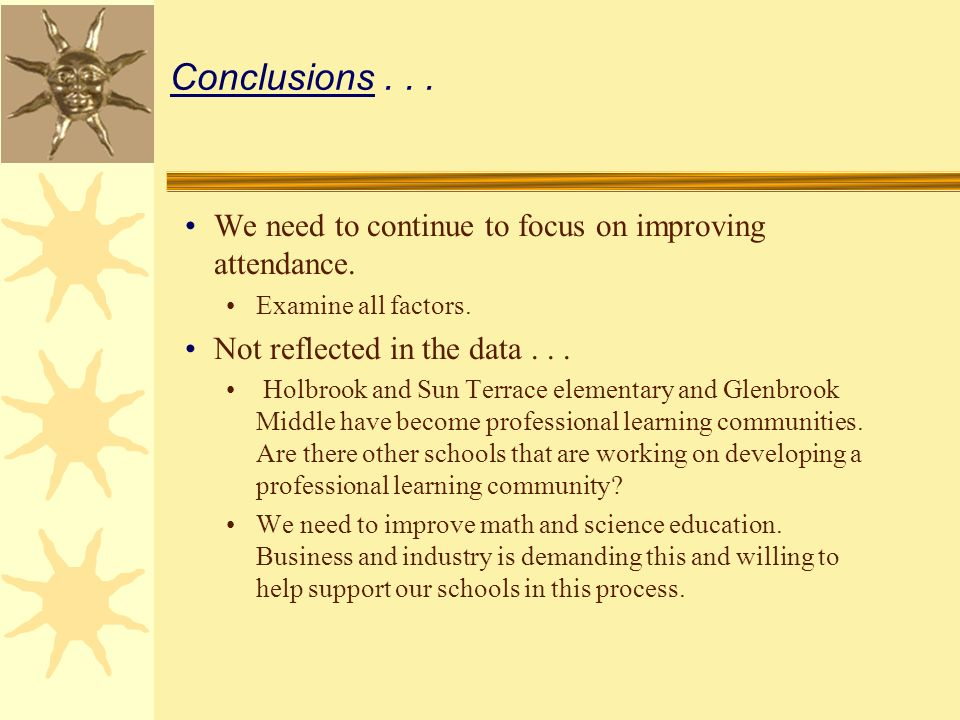 Conclusions... We need to continue to focus on improving attendance.