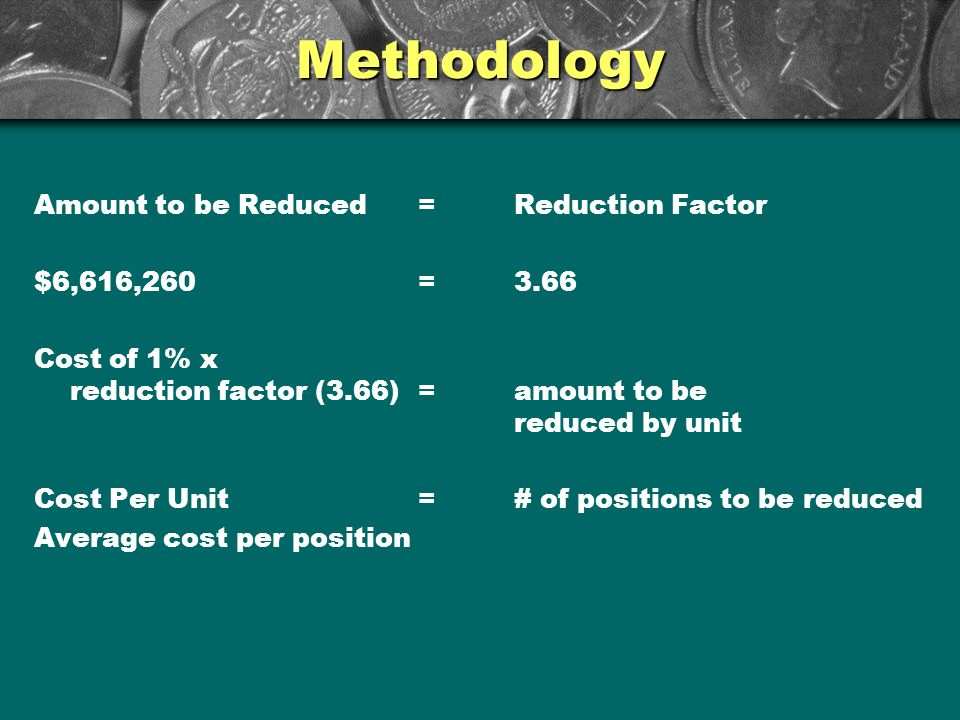 Methodology Amount to be Reduced=Reduction Factor $6,616,260=3.66 Cost of 1% x reduction factor (3.66)=amount to be reduced by unit Cost Per Unit=# of positions to be reduced Average cost per position
