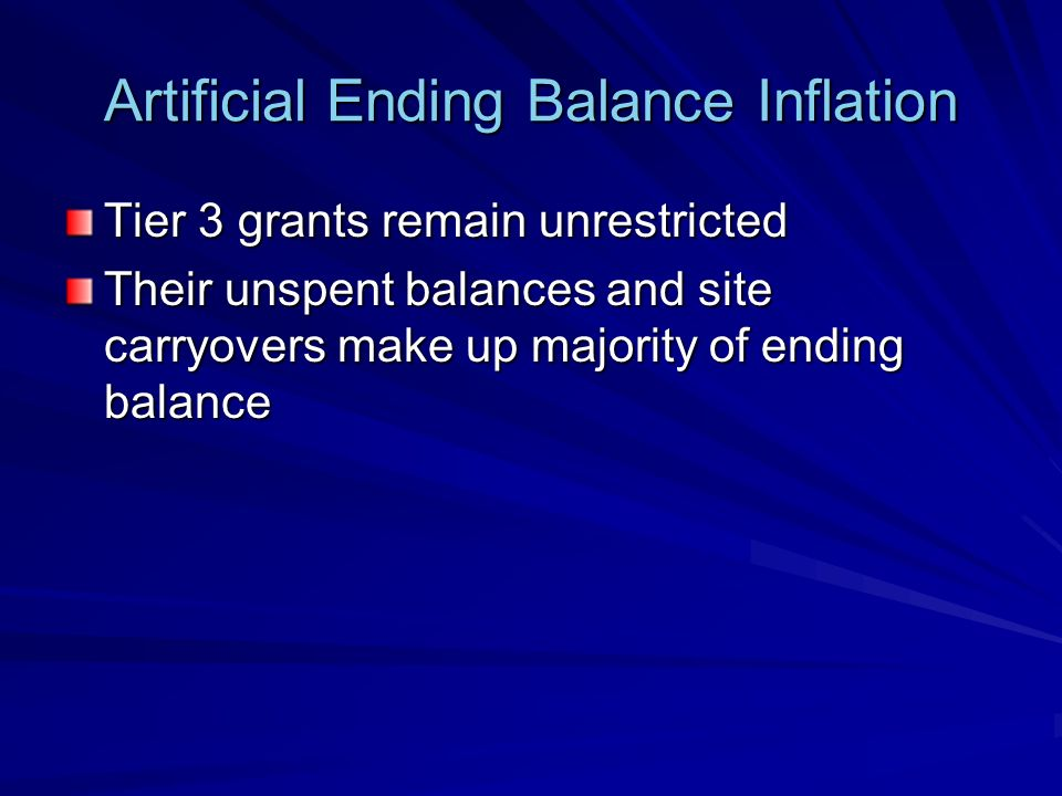 Artificial Ending Balance Inflation Tier 3 grants remain unrestricted Their unspent balances and site carryovers make up majority of ending balance