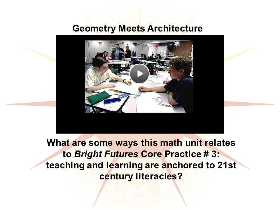 Geometry Meets Architecture What are some ways this math unit relates to Bright Futures Core Practice # 3: teaching and learning are anchored to 21st century literacies