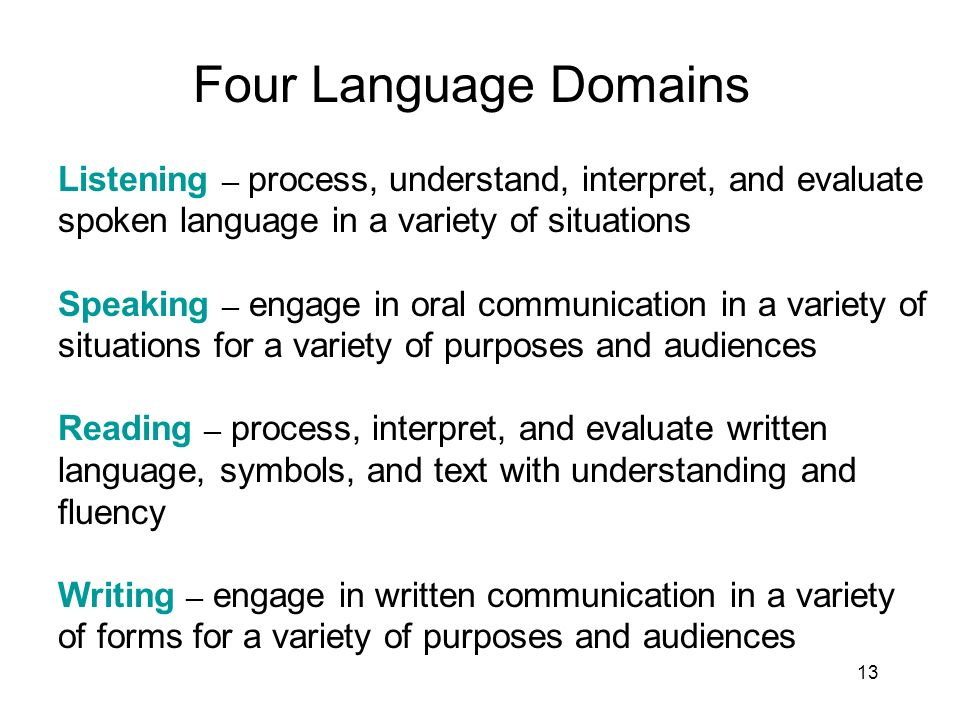 13 Four Language Domains Listening process, understand, interpret, and evaluate spoken language in a variety of situations Speaking engage in oral communication in a variety of situations for a variety of purposes and audiences Reading process, interpret, and evaluate written language, symbols, and text with understanding and fluency Writing engage in written communication in a variety of forms for a variety of purposes and audiences