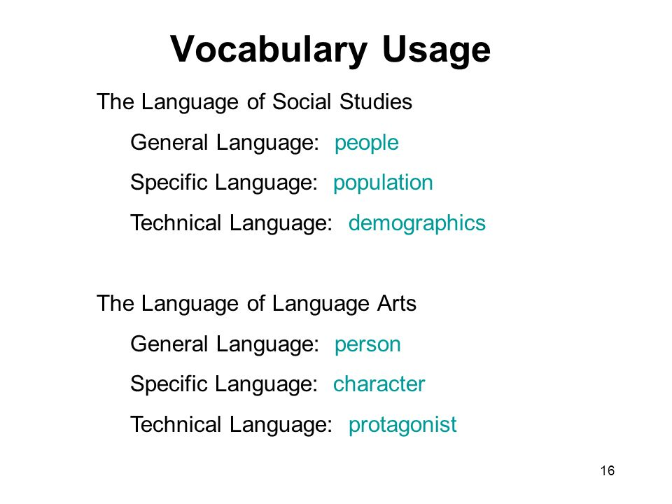 16 Vocabulary Usage The Language of Social Studies General Language: people Specific Language: population Technical Language: demographics The Language of Language Arts General Language: person Specific Language: character Technical Language: protagonist