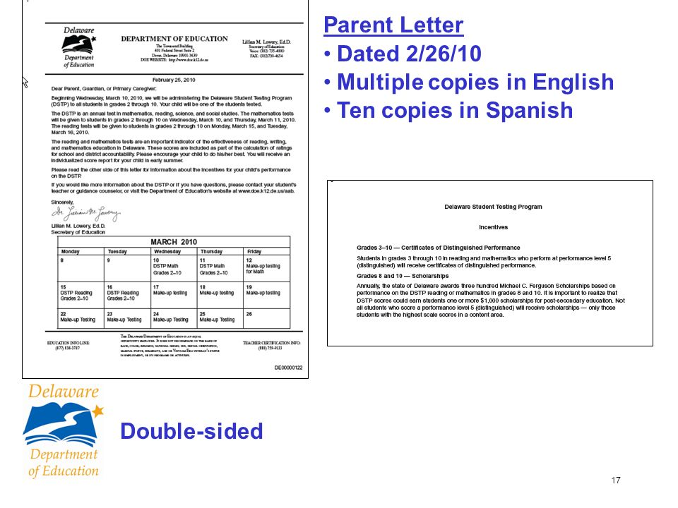 17 Parent Letter Dated 2/26/10 Multiple copies in English Ten copies in Spanish Double-sided