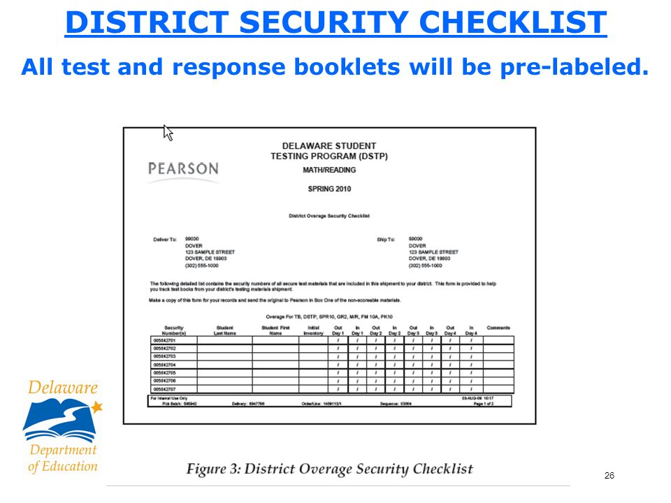 26 DISTRICT SECURITY CHECKLIST All test and response booklets will be pre-labeled.