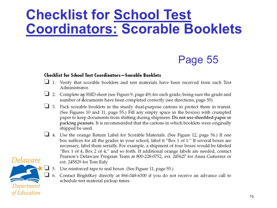 79 Checklist for School Test Coordinators: Scorable Booklets Page 55