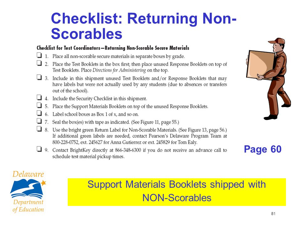 81 Checklist: Returning Non- Scorables Page 60 Support Materials Booklets shipped with NON-Scorables