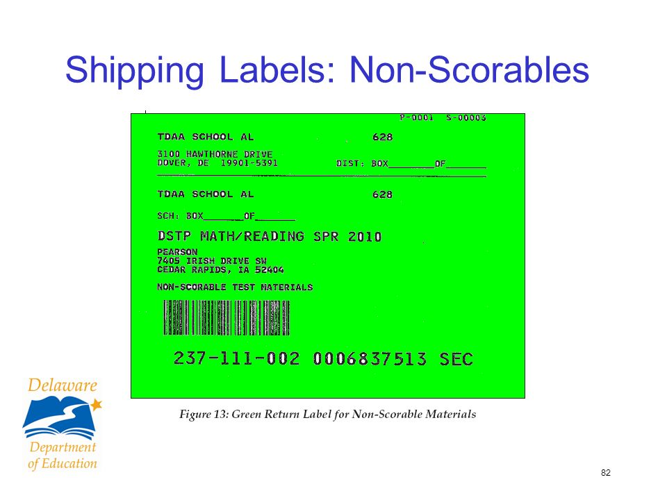 82 Shipping Labels: Non-Scorables