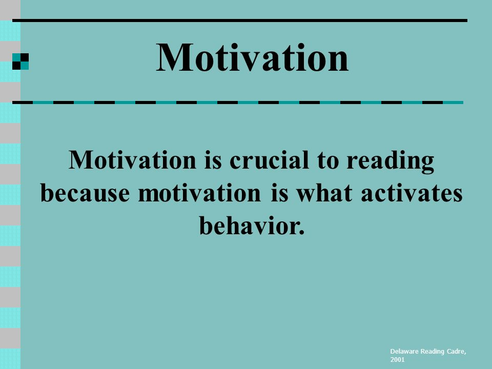 Motivation & Fluency Understand how to improve student motivation Understand the importance of fluency when learning to read Delaware Reading Cadre, 2001