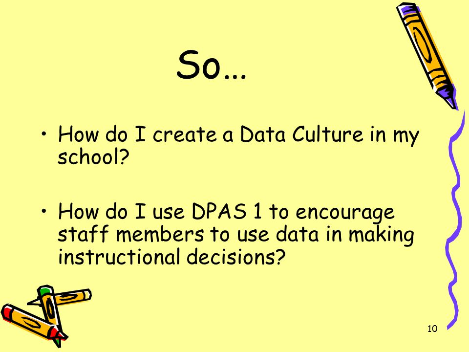 10 So… How do I create a Data Culture in my school.