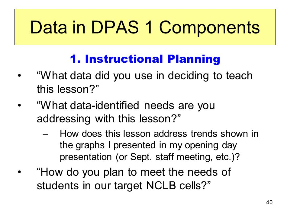 40 Data in DPAS 1 Components 1.
