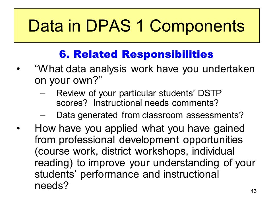 43 Data in DPAS 1 Components 6.