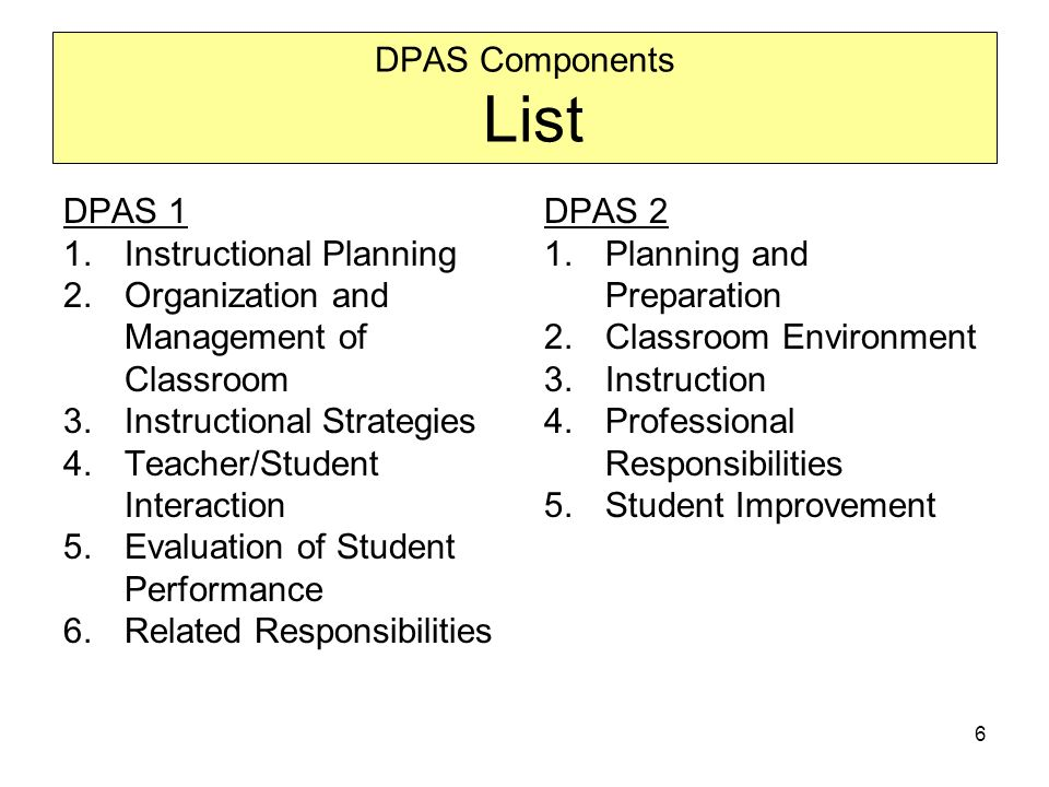 6 DPAS Components List DPAS 1 1.Instructional Planning 2.Organization and Management of Classroom 3.Instructional Strategies 4.Teacher/Student Interaction 5.Evaluation of Student Performance 6.Related Responsibilities DPAS 2 1.Planning and Preparation 2.Classroom Environment 3.Instruction 4.Professional Responsibilities 5.Student Improvement