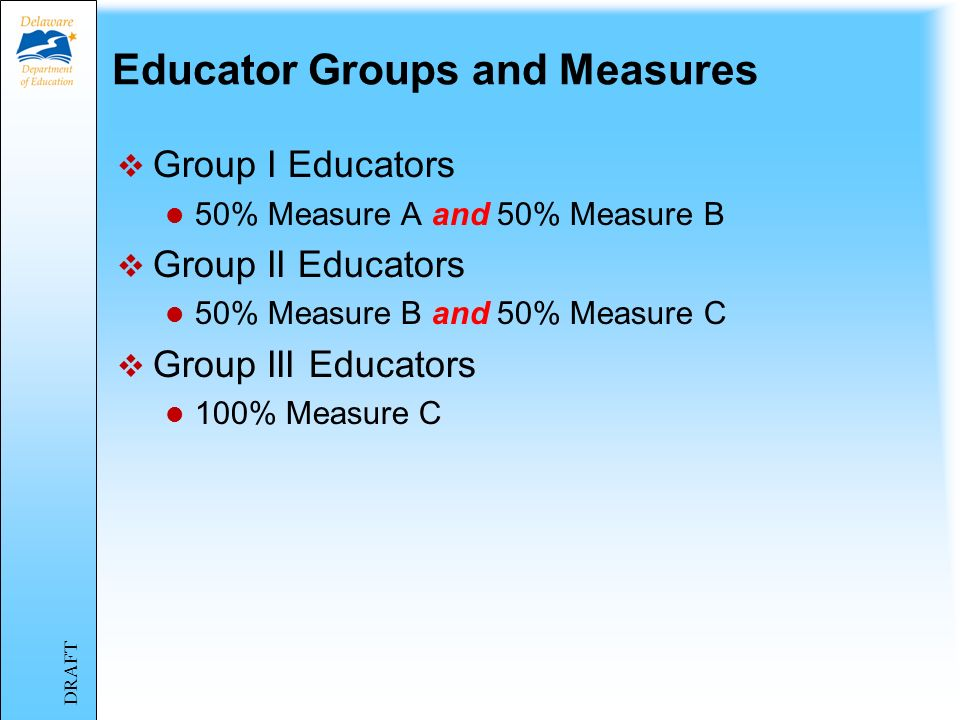 Key Factors of Component Five Three Educator Groups Group I Group II Group III Three Measures Measure A Measure B Measure C DRAFT