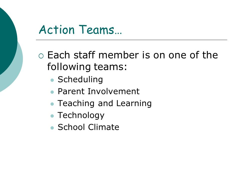 Action Teams… Each staff member is on one of the following teams: Scheduling Parent Involvement Teaching and Learning Technology School Climate