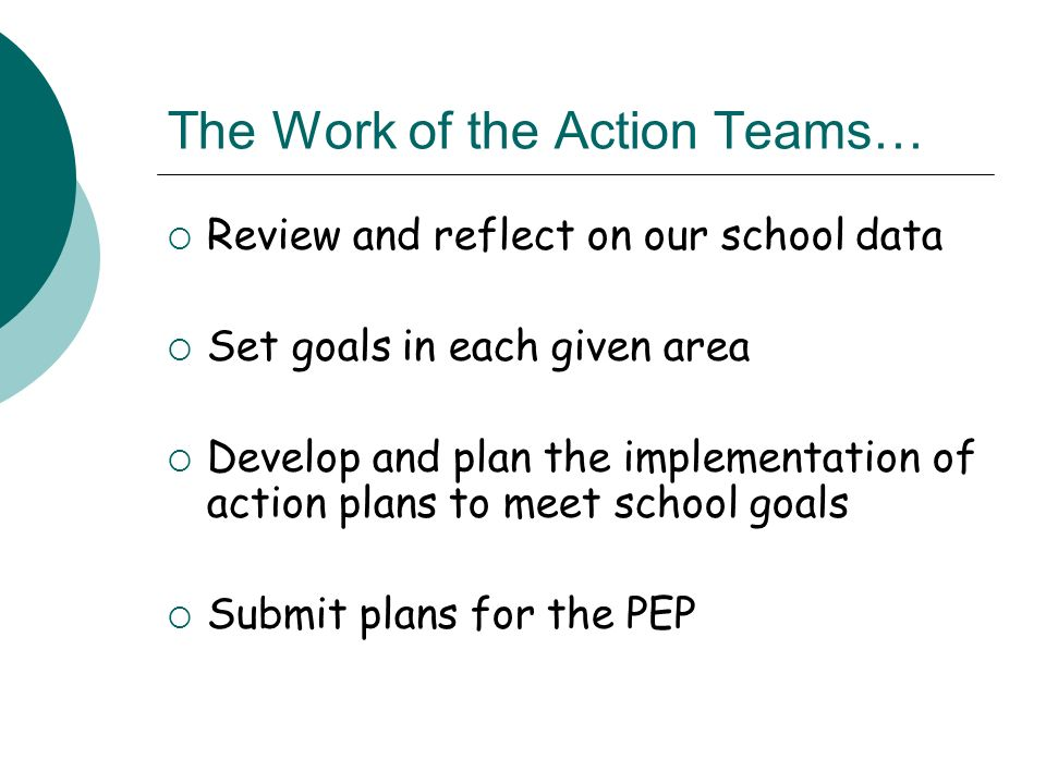 The Work of the Action Teams… Review and reflect on our school data Set goals in each given area Develop and plan the implementation of action plans to meet school goals Submit plans for the PEP