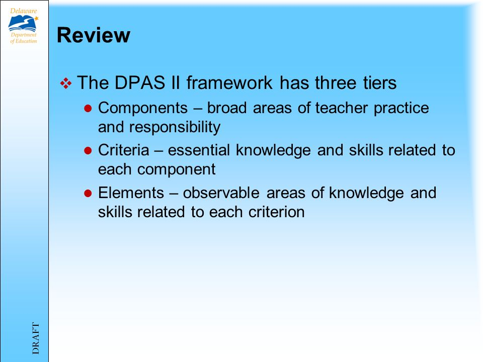 Review: Five Components of DPAS II TeachersSpecialistsAdministrators Component IPlanning & Preparation Vision & Goals Component 2Classroom Environment Professional Practice & Delivery of Services Culture of Learning Component 3InstructionProfessional Collaboration & Consultation Management Component 4Professional Responsibilities Component 5Student Improvement DRAFT