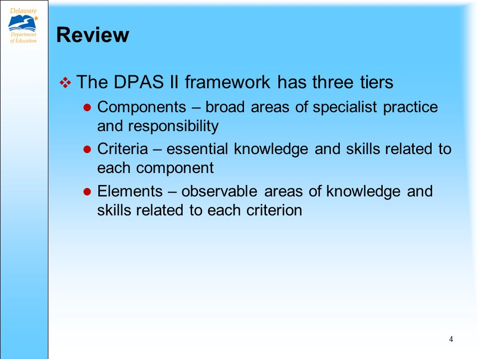 Review: Five Components of DPAS II TeachersSpecialistsAdministrators Component IPlanning & Preparation Vision & Goals Component 2Classroom Environment Professional Practice & Delivery of Services Culture of Learning Component 3InstructionProfessional Collaboration & Consultation Management Component 4Professional Responsibilities Component 5Student Improvement 3