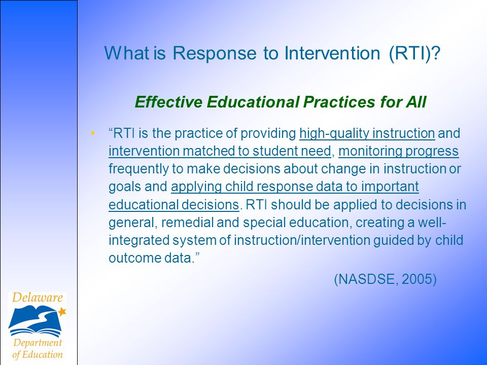 What is Response to Intervention (RTI).