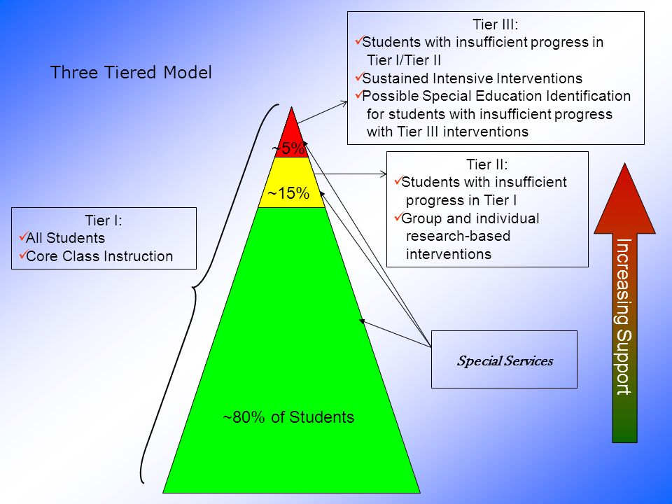 Tier I: All Students Core Class Instruction Tier II: Students with insufficient progress in Tier I Group and individual research-based interventions Tier III: Students with insufficient progress in Tier I/Tier II Sustained Intensive Interventions Possible Special Education Identification for students with insufficient progress with Tier III interventions ~80% of Students ~15% ~5% Three Tiered Model Special Services Increasing Support