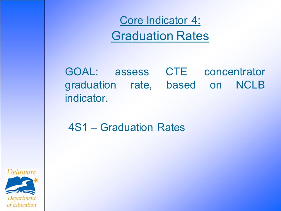 Core Indicator 4: Graduation Rates GOAL: assess CTE concentrator graduation rate, based on NCLB indicator.