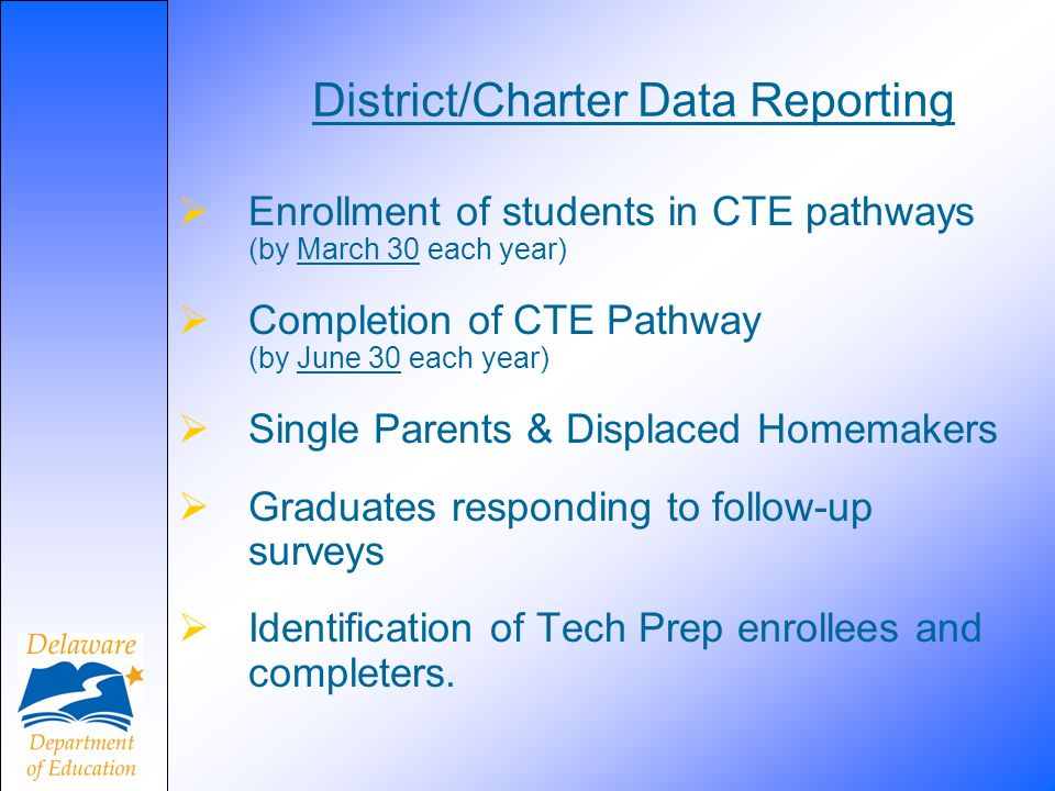 District/Charter Data Reporting Enrollment of students in CTE pathways (by March 30 each year) Completion of CTE Pathway (by June 30 each year) Single Parents & Displaced Homemakers Graduates responding to follow-up surveys Identification of Tech Prep enrollees and completers.