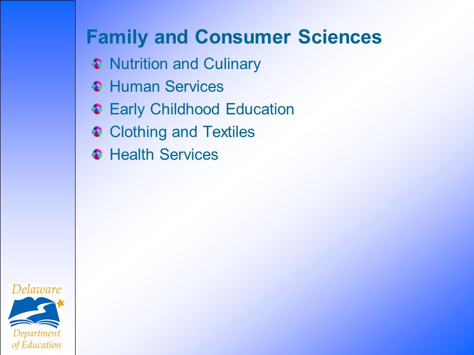 Family and Consumer Sciences Nutrition and Culinary Human Services Early Childhood Education Clothing and Textiles Health Services