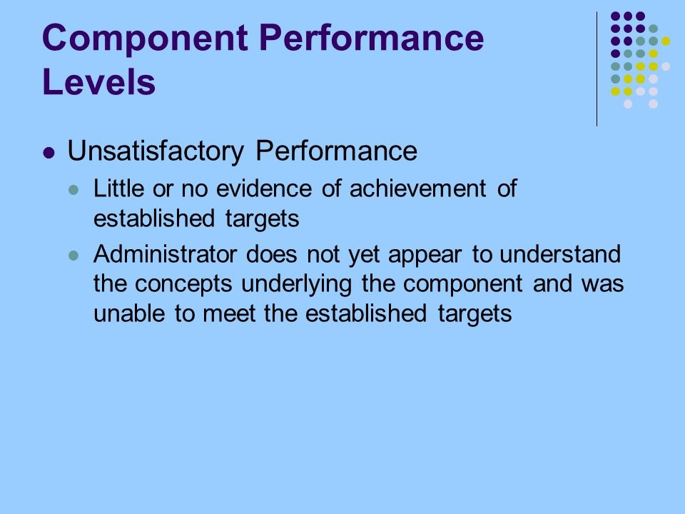 Component Performance Levels Unsatisfactory Performance Little or no evidence of achievement of established targets Administrator does not yet appear to understand the concepts underlying the component and was unable to meet the established targets