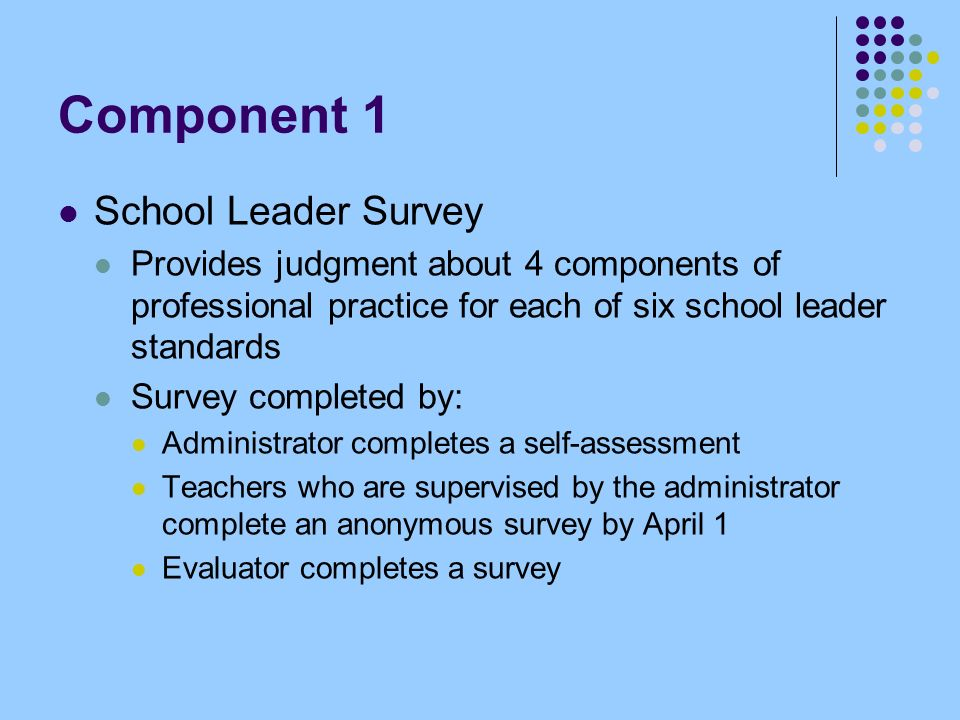 Component 1 School Leader Survey Provides judgment about 4 components of professional practice for each of six school leader standards Survey completed by: Administrator completes a self-assessment Teachers who are supervised by the administrator complete an anonymous survey by April 1 Evaluator completes a survey