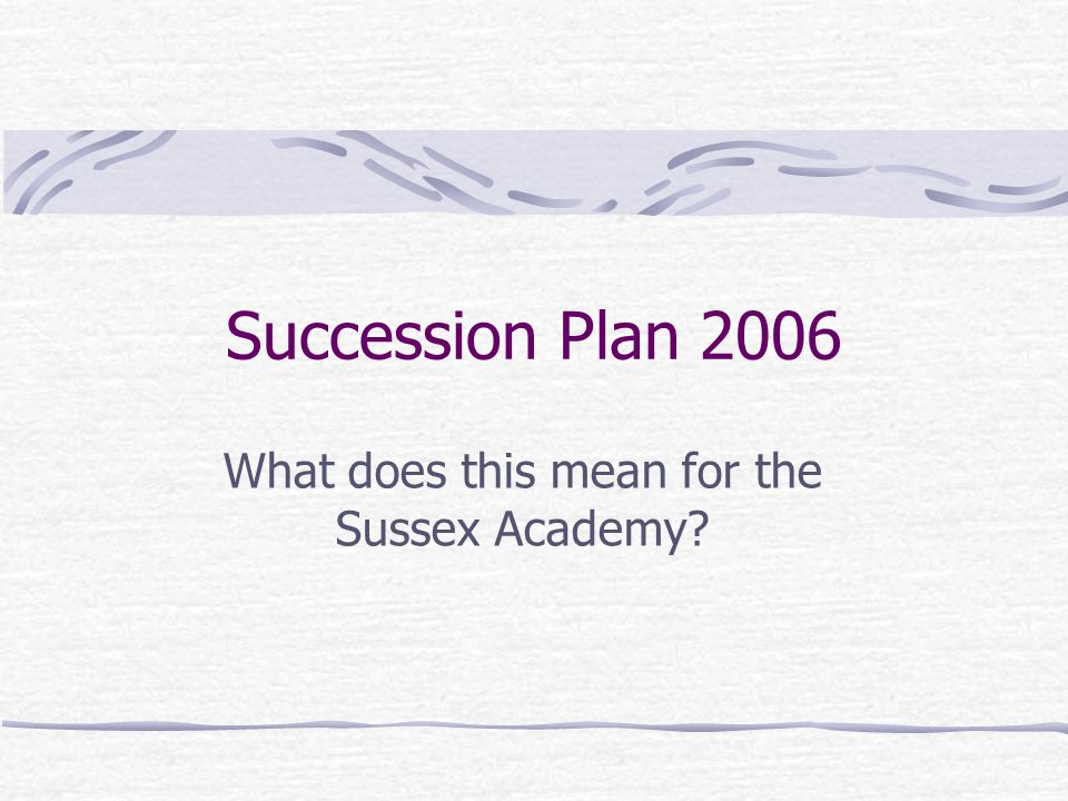 Succession Plan 2006 What does this mean for the Sussex Academy