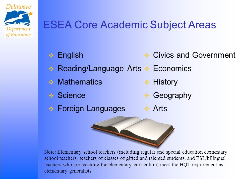English Reading/Language Arts Mathematics Science Foreign Languages ESEA Core Academic Subject Areas Civics and Government Economics History Geography Arts Note: Elementary school teachers (including regular and special education elementary school teachers, teachers of classes of gifted and talented students, and ESL/bilingual teachers who are teaching the elementary curriculum) meet the HQT requirement as elementary generalists.