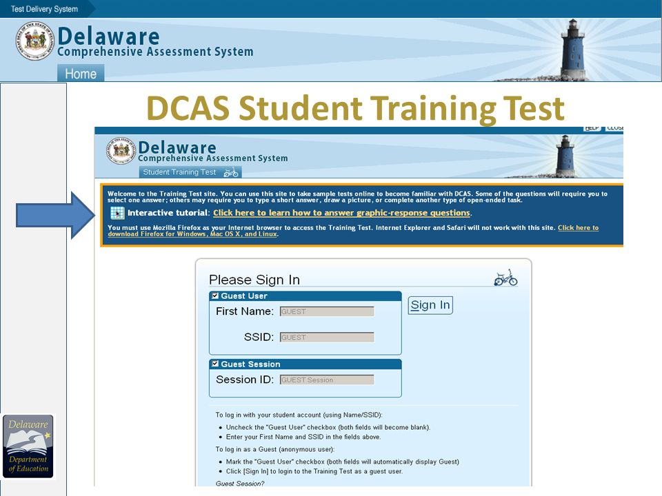 DCAS Student Training Test